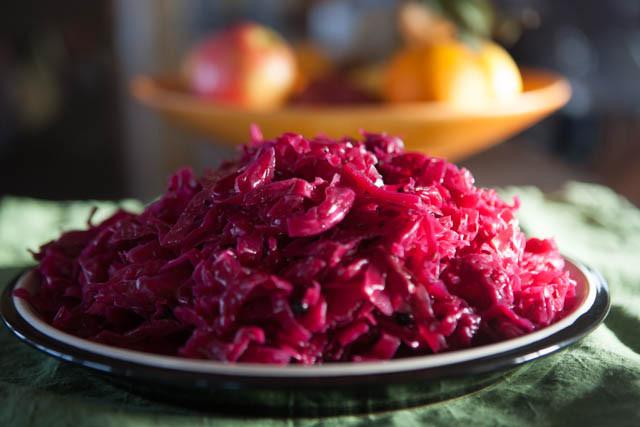 Red Cabbage Sauerkraut on Plate