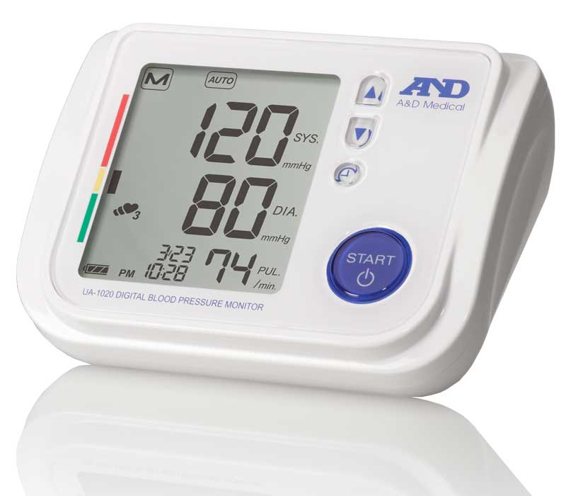 Simple White Rectangular Blood Pressure Equipment thst is Portable and Easy to Carry