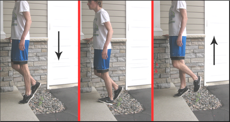 heel drops done in eccentric lift on people with achilles