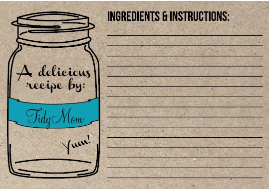 TidyMom Recipe Card