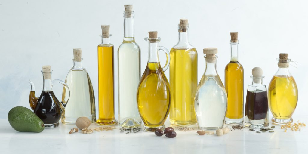 Variety of 10 different edible oils
